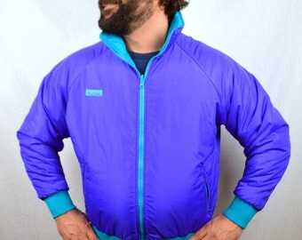 Vintage 80s REVERSIBLE Teal Purple Ski Winter Puffy Jacket Coat  by Columbia