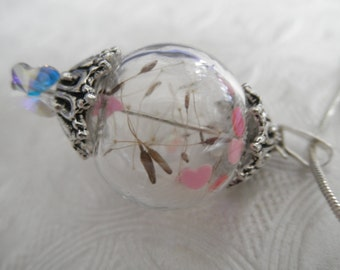 Love Is In The Air-Dandelion Seed Glass Reliquary Terrarium Pendant-Pink-Red Hearts Pendant-Gifts Under 35-Nature's Art-Symbolizes Happiness