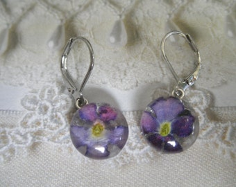 Ombre Blue-Purple Pink Verbena Pressed Flower Small Glass Round Leverback Earrings-Symbolizes Enchantment,Pray For Me-Nature's Wearable Art