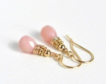 Pink Opal Earrings Gold Fill / Pink Gemstone Earrings / Pink Dangle Earrings / Pink Drop Earrings
