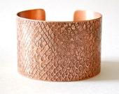 """ETCHED SNAKESKIN CUFF - Solid 18 Gauge Copper Etched with a Snakeskin Pattern, 6"""" x 1.5"""", Handcrafted, Snake, Reptile, Fantasy"""