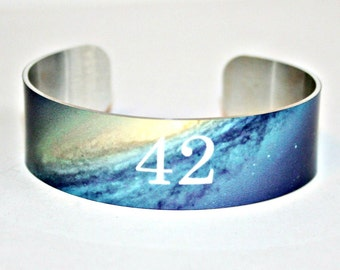 """42 Hitchhiker's Guide to the Galaxy Aluminum Cuff, Adams, Radio, Meaning of Life, Permanent image, Water and Fade Resistant, .75"""" x 6.5"""""""