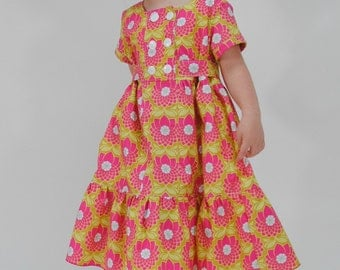 Girl's Classic Double Breasted Dress, Girls Dresses, pink dress, toddler dresses, Childrens Clothing, Size 2T 3 4 5 6 7 8/9 10 12