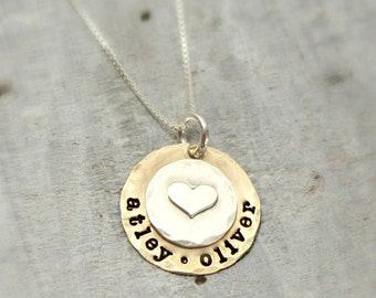 Mom necklace, mom name necklace, kids names necklace, two tone mom necklace, gold tone and silver, brass and silver jewelry, heart necklace