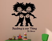 Nursery Vinyl Wall Art Decal Decor Dr Seuss Thing 1 And 2 Quote Sticker Childrens Kids Room Baby Toddler Playroom Mural 27 X 32 inches