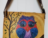CLEARANCE PRICED - Handmade Leather Skirt Handbag with Handpainted Owl
