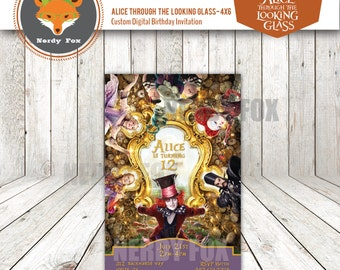 Alice Through the Looking Glass, Alice in Wonderland Custom Digital Invitation 4x6