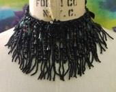 Gothic Wedding Choker Necklace, Chandelier Beaded Fringe, Steampunk, Bohemian, Tribal Fusion, Fringe Choker, Collar Necklace