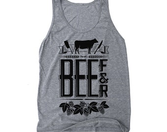 Foodie Gifts, Gift for Him or for Her, Graphic Tank - Beef and Beer: