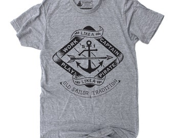 Funny Gift for Him, Fishing Shirt, Boating Shirt, Sailing Graphic Tee - Play Like A Pirate: