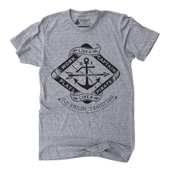 Play Like A Pirate Shirt - athletic grey graphic tee, sailing tshirt, nautical gifts, anchor print