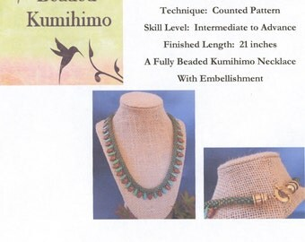 Autumn Leaves Fully Beaded Kumihimo Necklace With Embellishment, Yatsu Kongoh Gumi, Z Spiral, Tutorial Only