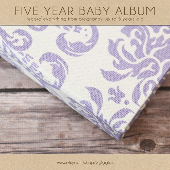 Baby  Book (Pregnancy - 5 Years) - Purple and White Damask (136 journaling pages & personalization included with album)