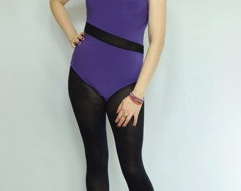 Purple black leotard Mesh panel bodysuit Purple lycra body Contrast leotard 80s leotard 80s bodysuit Purple black body