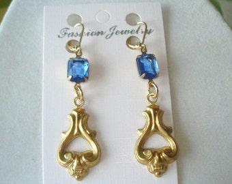 Blue Glass Stone Dangle  Earrings Gold Tone