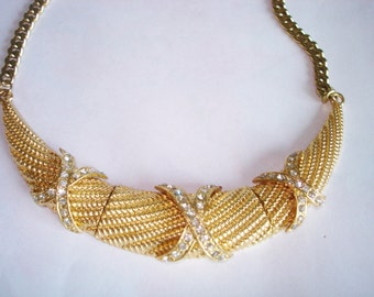 Gold Tone Clear Rhinestones Vintage Jewelry