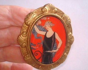 Lady Art Deco  Brooch