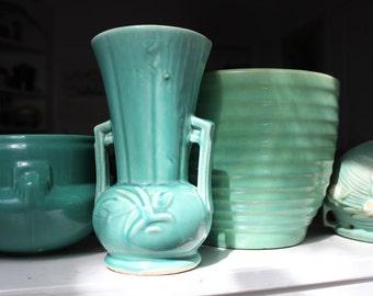 McCoy Pottery Blue Aqua Vase 1940s VINTAGE by Plantdreaming