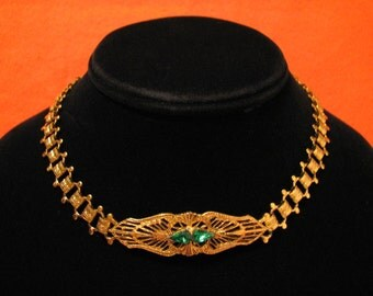 Antique Victorian Art Nouveau Gold Plated Green Emerald Paste Diamond Rhinestone Filigree Book Chain Choker Necklace