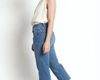 Vintage 90s Medium Wash Levis 501 Cropped Leg Jeans | 6