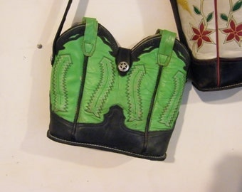 "Boot Top Purse with a ""Sole"" - Green and Black"