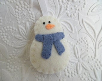 Snowman Ornament Boy Christmas Tree Decoration Primitive Blue Felted Wool Scarf
