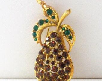 Vintage Amber Rhinestone Pear Brooch Pin  (B-1-2)