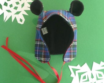 BLUE Plaid Fabric Winter Bear Hat- Toddler, Kids, and Adult Sizes!