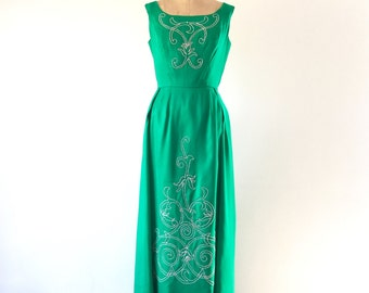 1960s Vintage Emerald Green Satin Gown Silver Embroidery Mike Benet Formal Maxi Holiday Dress M