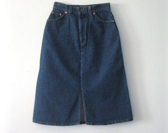 Vintage 80s Levi's denim skirt / orange tab Levis straight line Hipster Boho jean skirt