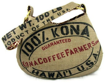 MTO. Custom. 100% Kona Burlap Hobo Handbag. Repurposed Kona Coffee Farmers Association Coffee Sack. Handmade in Hawaii.