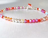 Swarovski Crystal Bracelet, Silver Bracelet, Candy Summer Sherbert, Pink, Orange, Yellow, Bright, Colorful, Confetti Rainbow