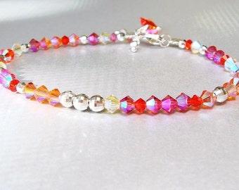 Swarovski Crystal Bracelet, Silver Bracelet, Candy Summer Sherbert, Pink, Orange, Yellow, Bright, Colorful, Confetti Rainbow