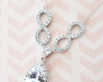 Forever - Cubic Zirconia Infinity Luxe Teardrop Pendant Necklace, gifts for her, Crystal Jewelry, Silver, Simple White Weddings