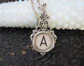 Typewriter Key Jewelry - Typewriter Necklace - Letter A - Typewriter Charm - Vintage Key