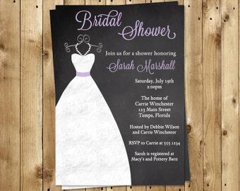 Chalkboard Bridal Shower Invitations, Wedding Gown, Dress, Lavender, Purple, Set of 10 Printed Invites, FREE Shipping, CKGWL, Lilac