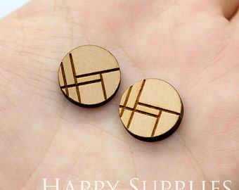 4pcs (SWC200) DIY Laser Cut Wooden Geometry Charms