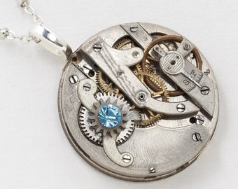 Steampunk Clockwork Necklace Vintage Pocket Watch Movement with Ruby Jewels and Blue Crystal Pendant Silver Chain Steampunk Jewelry 2967