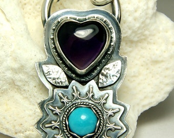 Amethyst Pendant, Natural Sleeping Beauty Turquoise Necklace, Sterling Silver Necklace, Heart Shape Stone