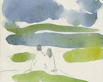 summertime, together, set of watercolor postcards