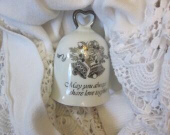 WEDDING KEEPSAKE BELL Silver on White Porcelain