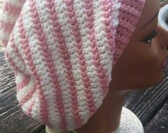 SALE Light pink and white stripe hippie slouch beanie hat