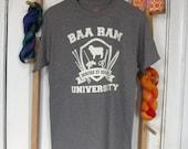Baa Ram University T-Shirt Sizes: Small through 3X - Fiber Arts, Knitting, Weaving, Crochet, Spinning