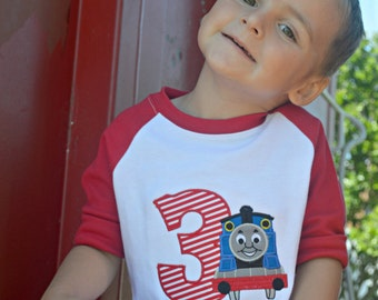 Train Birthday Shirt Personalized with Number Blue Train Red Raglan