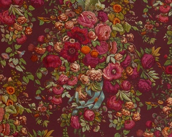 antique french wallpaper pink and red roses chintz illustration digital download