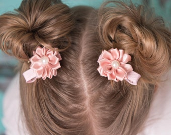 blush hair clip, piggy tail hair clip, flower hair accessory, girl birthday gift, cake smash outfit, toddler hair clips, baby shower gift