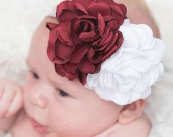 burgundy elastic headband, chirstmas headband, white headband, chevron headband, baby headband, flower headband, womens headband, maroon