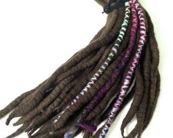 Deep Natural Brown - Wool Dreadlock Extensions - set of 33 single ended - medium length - with handspun wraps