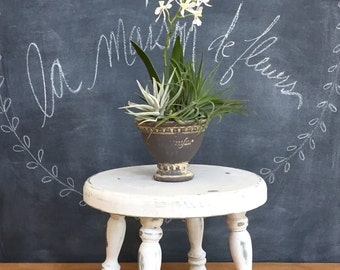 Farmhouse Milking Stool Rustic Stool or Plant Stand Chippy and One of A Kind Round with Turned Legs