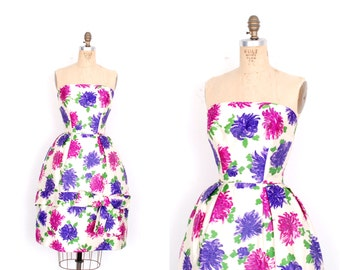 Vintage 1950s Dress / 50s Silk Floral Print Strapless Party Dress / Purple Pink White (small S)
